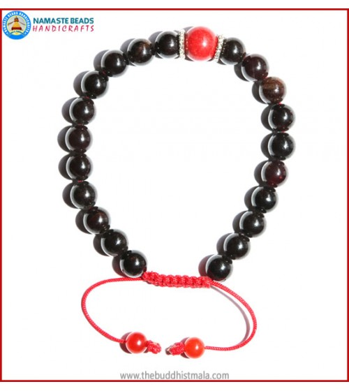 Garnet Stone Bracelet with Coral Bead