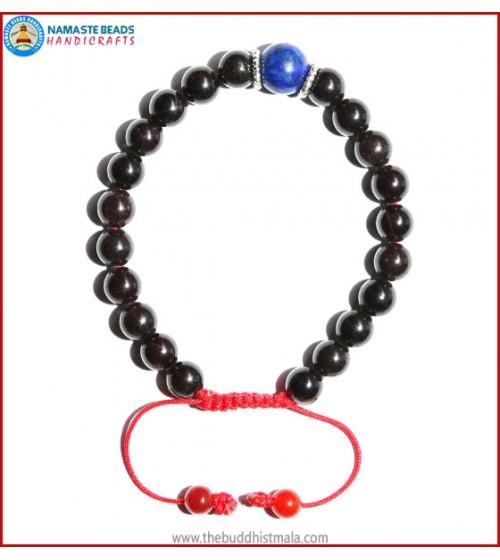 Garnet Stone Bracelet with Lapis Lazuli Bead