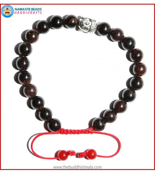 Garnet Stone Bracelet with Buddha head Bead