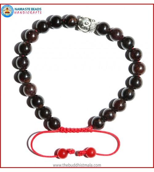 Garnet Stone Bracelet with Buddha head Bead