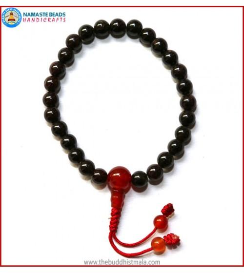 Garnet Stone Wrist Mala with Carnelian Guru Bead