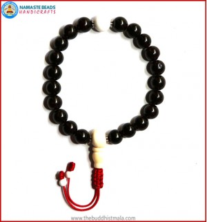 Garnet Stone Wrist Mala with White Bone Guru Bead