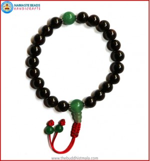 Garnet Stone Wrist Mala with Green Jade Guru Bead