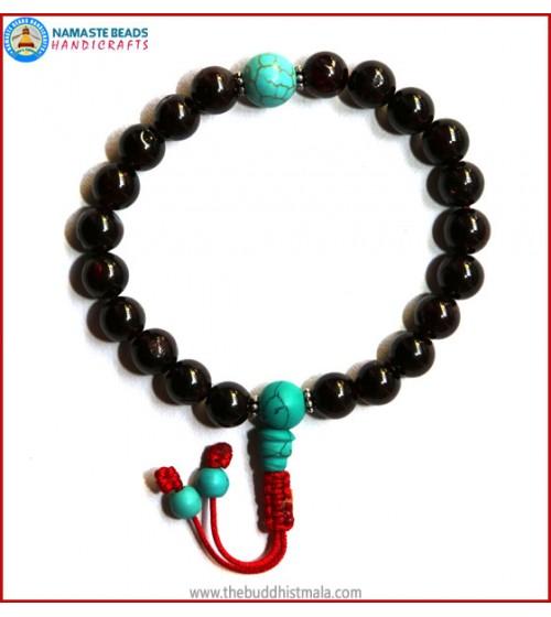Garnet Stone Wrist Mala with Turquoise Guru Bead