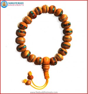 Inlaid Wood Wrist Mala
