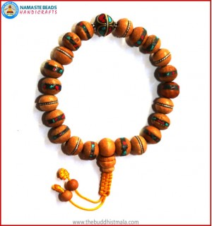 Inlaid Wood Wrist Mala with Metal Inlays Bead