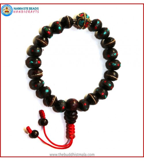 Inlaid Dark Wood Wrist Mala with Metal Inlays Bead