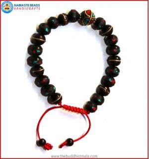 Inlaid Dark Wood Bracelet with Metal Inlays Bead