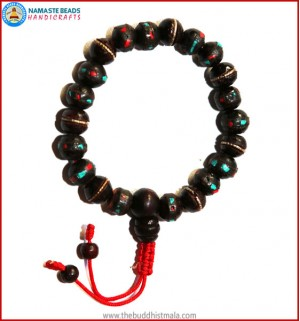Inlaid Dark Wood Wrist Mala