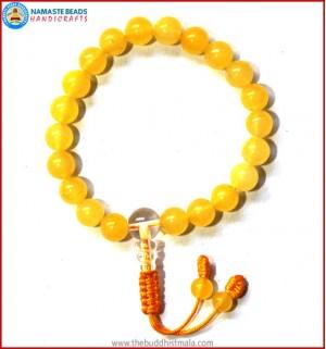 Yellow Jade Stone Bracelet with Crystal Guru Bead