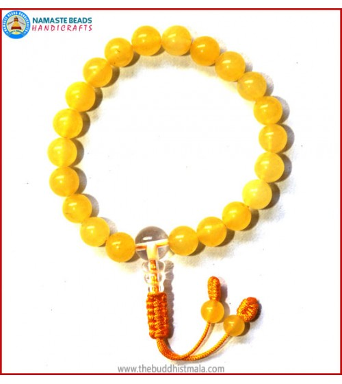 Yellow Jade Stone Bracelet with Crystal Guru Bead