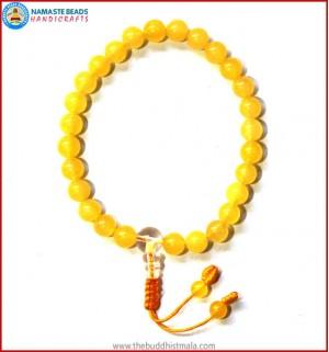 Yellow Jade Stone Wrist Mala with Crystal Guru Bead