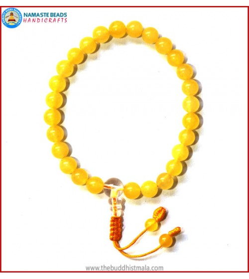Yellow Jade Stone Wrist Mala with Crystal Guru Bead