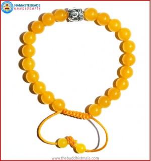 Honey Yellow Jade Stone Bracelet with Buddha Head Bead