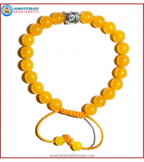 Honey Yellow Jade Stone Bracelet with Buddha Head Bead