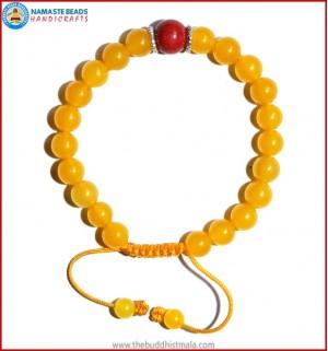Honey Yellow Jade Stone Bracelet with Coral Bead
