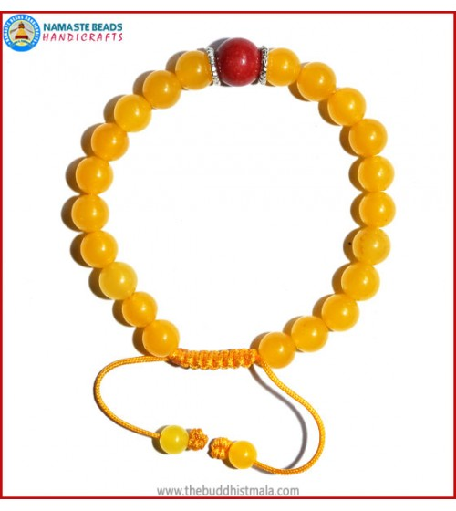Honey Yellow Jade Stone Bracelet with Coral Bead