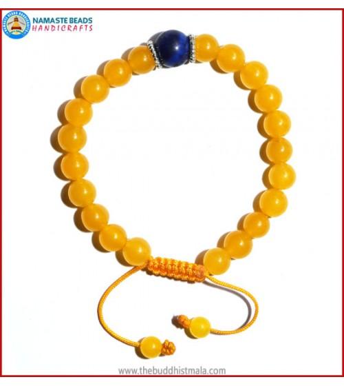 Honey Yellow Jade Stone Bracelet with Lapis Lazuli Bead