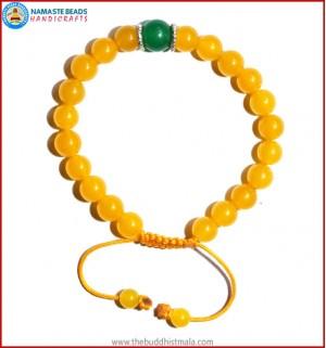 Honey Yellow Jade Stone Bracelet with Green Jade Bead
