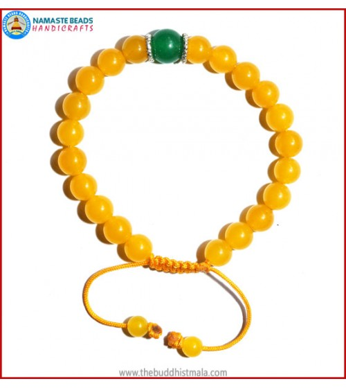 Honey Yellow Jade Stone Bracelet with Green Jade Bead