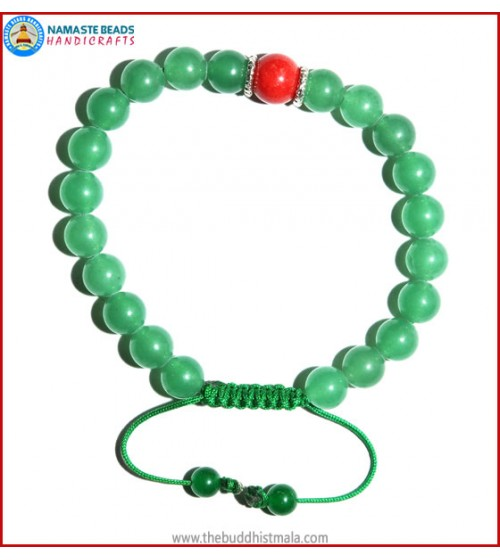 Light Green Jade Stone Bracelet with Coral Bead