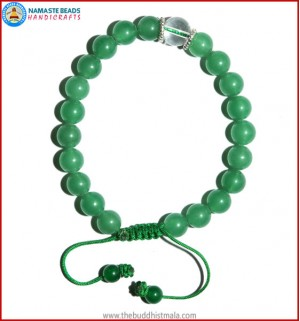 Light Green Jade Stone Bracelet with Crystal Bead