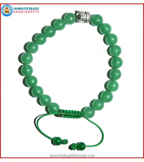 Light Green Jade Stone Bracelet with Buddha Head Bead
