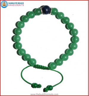 Light Green Jade Stone Bracelet with Lapis Lazuli Bead