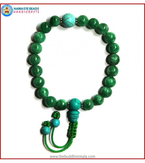 Taiwanese Jade Stone Wrist Mala with Turquoise Guru Bead