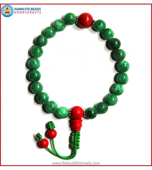 Taiwanese Jade Stone Wrist Mala with Coral Guru Bead