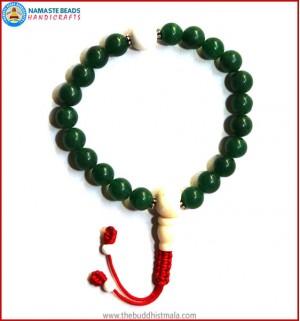 Dark Green Jade Stone Wrist Mala with Bone Guru Bead