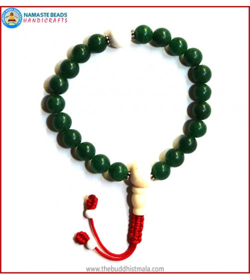 Dark Green Jade Stone Wrist Mala with Bone Guru Bead