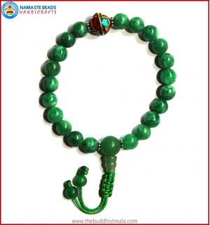 Taiwanese Jade Stone Wrist Mala with Inlays Metal Bead