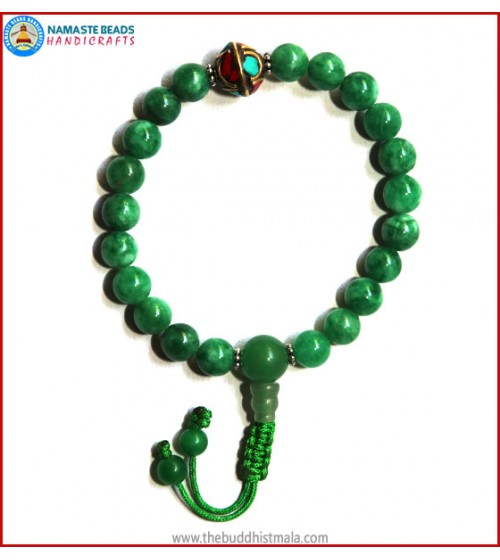 Taiwanese Jade Stone Wrist Mala with Inlays Metal Bead