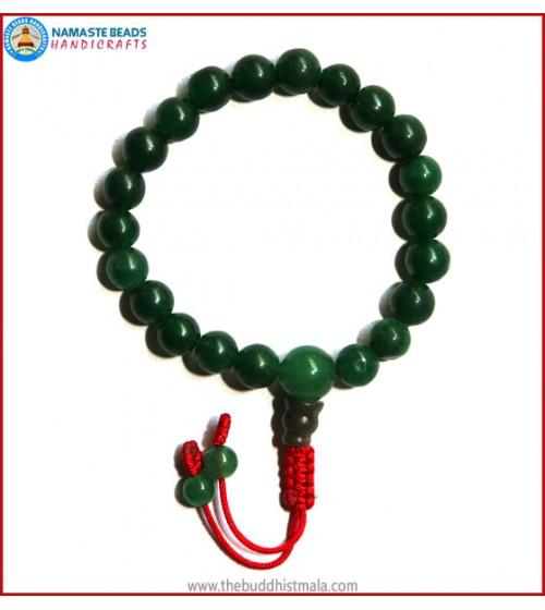 Dark Green Jade Stone Wrist Mala