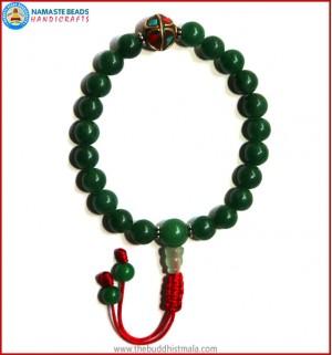 Dark Green Jade Stone Wrist Mala with Inlays Metal Bead