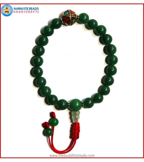 Dark Green Jade Stone Wrist Mala with Inlays Metal Bead