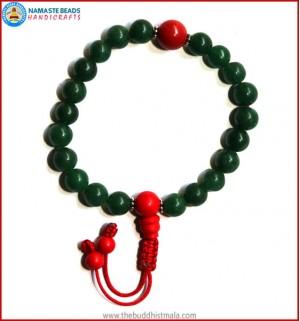 Dark Green Jade Stone Wrist Mala with Coral Guru Bead