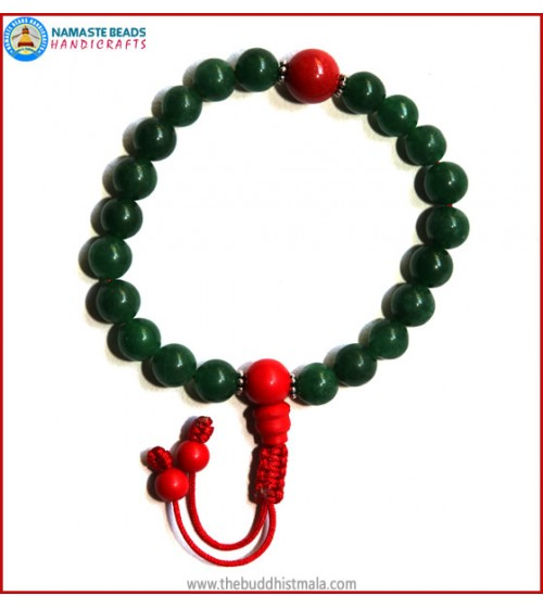 Dark Green Jade Stone Wrist Mala with Coral Guru Bead