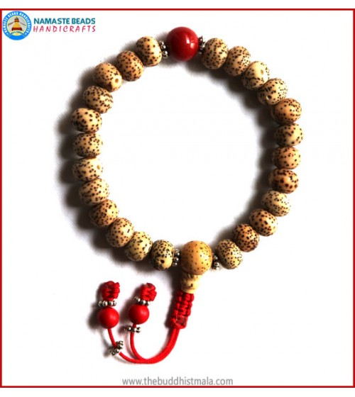 Flat Lotus Seed Wrist Mala with Coral Bead