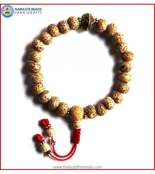 Flat Lotus Seed Wrist Mala with Inlays Metal Bead