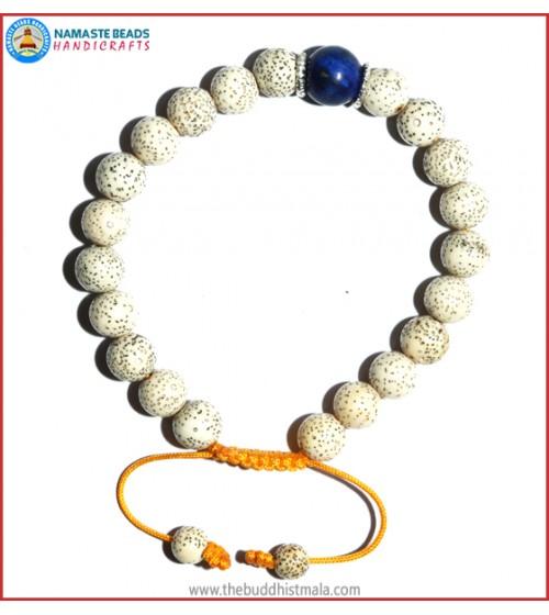 Lotus Seed Bracelet with Lapis Lazuli Bead