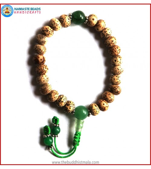 Flat Lotus Seed Wrist Mala with Jade Bead