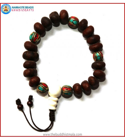 Natural Lotus Seed Wrist Mala with Inlays Metal Beads