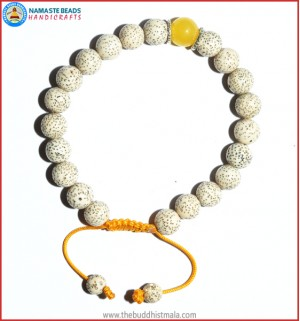 Lotus Seed Bracelet with Yellow Jade Bead