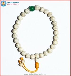 White Lotus Seed Wrist Mala with Jade Bead