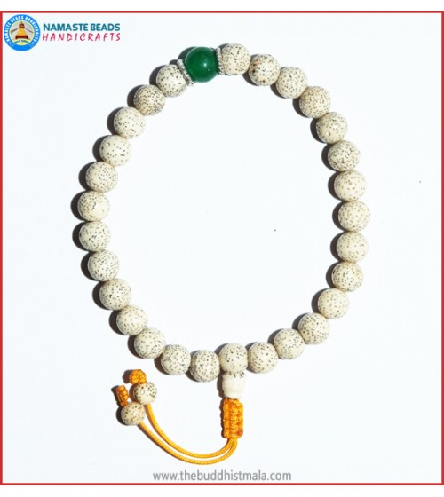 White Lotus Seed Wrist Mala with Jade Bead
