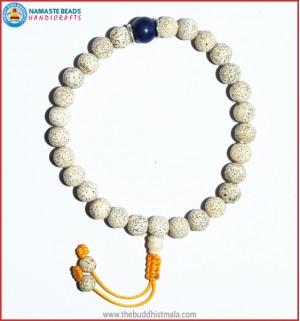 White Lotus Seed Wrist Mala with Lapis Lazuli Bead