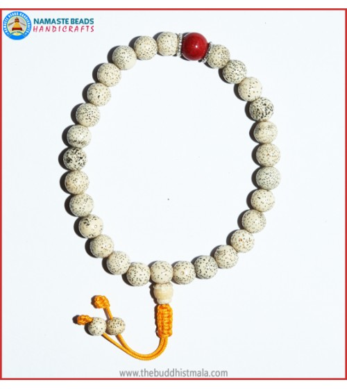 White Lotus Seed Wrist Mala with Coral Bead
