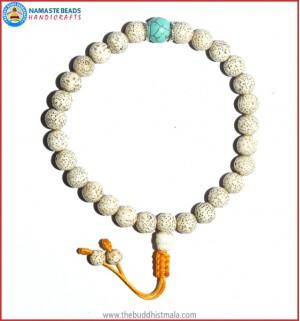 White Lotus Seed Wrist Mala with Turquoise Bead